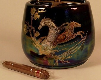 SALE Crown Devon Pegasus Horse Ceramic Tobacco Humidor with Purple & Blue Luster English Lusterine w Bonus Roi Tan Cigar Vintage