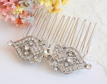 Bridal Crystal Hair Comb, Wedding Hair Comb, Victorian Hair Pin, Vintage Style Filigree Hair Jewelry, Bridal Wedding Hair Accessories, GRACE