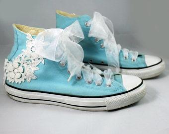 Wedding Converse --Bridal Converse -- Wedding tennis shoes - Wedding sneakers - Lace Converse