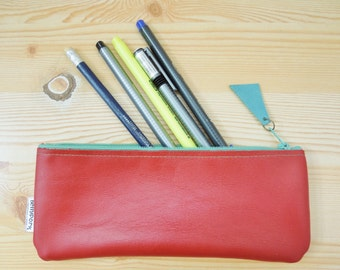 Leather pencil case, leather pencilcase, leather pouch, red leather, red pencil case, leather case,leather coin purse,turquoise pencil case