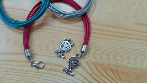 Baby bracelet,  baby girl bracelet,  mother jewelry, baby girl charm, now mom bracelet, it's a girl, mother's jewelry, mother's day, leather