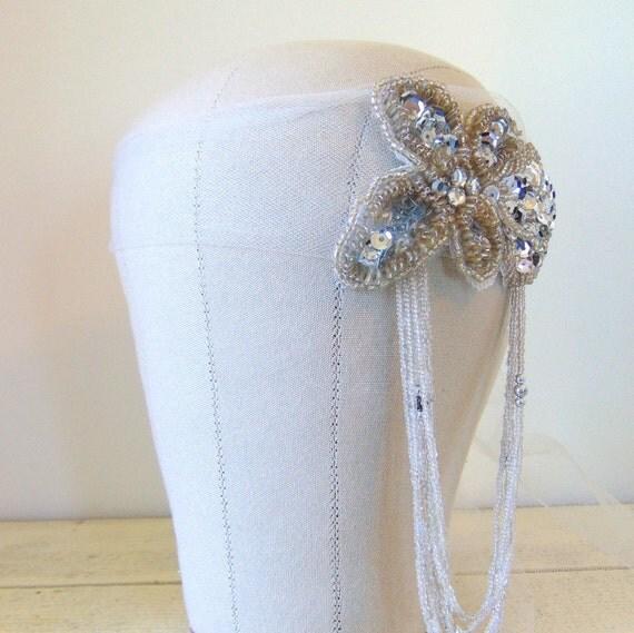 SALE Flapper Headpiece, Flapper Hairpiece, Tulle Headpiece, Great Gatsby, 1930, Roaring 1920's, Bridal Cap, Silver Beaded Headpiece DAISY