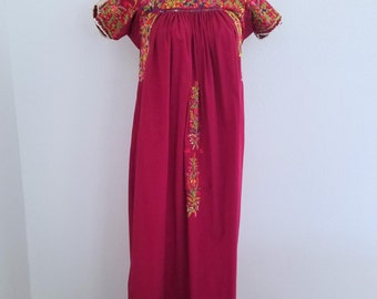 1970s Mexican Embroidered Maxi Dress Bohemian Burgundy Floor Length Womens Vintage Large