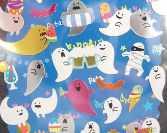 Cute Ghost Shiny Sticker (1 Sheet)