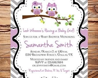 Owls Baby Shower Invitation, Baby Shower Invite, Girl, Purple owls baby shower invitation, Chevron Stripes, 1606