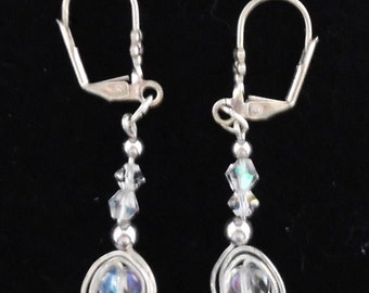 Bridal Crystal Dangle EarringsHandmade Wire Wrapped Wedding Earrings SterlingSilverCrystalBeaded Earrings  #787