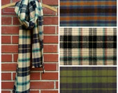 Plaid Winter Scarf Thick Soft Brushed 100% Cotton Beige Black Long Fringed