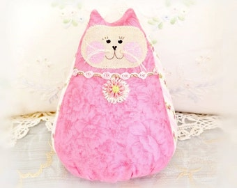 "Cat Doll 6""  Free Standing Kitty, Pink Tone on Tone Print Cat Doll, Cottage Style Primitive Handmade CharlotteStyle Decorative"