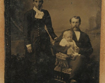 Tintype Photograph Family of Three Victorian Antique Vintage