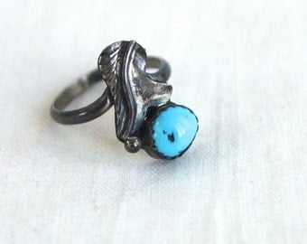Turquoise Ring Sterling Silver Size 5 Vintage Southwestern Jewelry Primitive Boho Ring