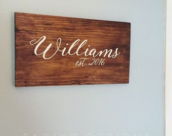 Custom Hand painted Family Name Sign on Reclaimed Wood