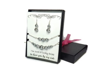 Bridesmaid Gift Bridesmaid Jewelry Gray Wedding Grey Wedding Jewelry Set Bridesmaid Jewelry Pearl Gray Necklace Bracelet Pearl Earrings