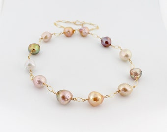 Kasumi pearl necklace, ripple pearl necklace, multicolor, nucleated freshwater pearl, handcrafted clasp, 14k gold filled: Simply Adorned