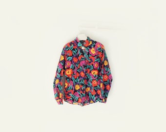 Vintage Wrangler Floral Heavy Cotton Button Up Long Sleeve Shirt Womens Large