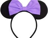 Daisy Duck Ears Headband Purple Daisy Duck Bow Daisy Duck Costume Minnie Mouse Ears Mickey Mouse Ears Mickey Ears Disney Ears Daisy Ears