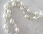 Pearl necklace - Swarovski pearls and crystals - Brides necklace - Elegantly detailed ~ Hand crafted, Wedding jewelry -The LACEY collection