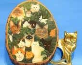 Vintage 80s 90s Cat Wall Hanging Home Decor Kitsch Collectibles Gift