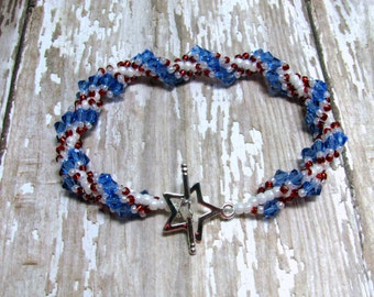 Patriotic Spiral Rope Bracelet, Red, White and Blue Bracelet, Fourth of July Bracelet, Patriotic Jewelry, July 4th Jewelry, Woven Bracelet