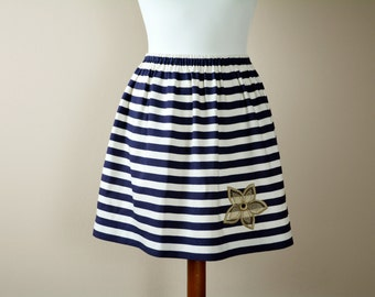 Striped line skirt, Mini skirt, striped skirt, Linen skirt, Short skirt, Womens skirt, Petite, 50s skirt, plus size skirt, knee skirt, Navy