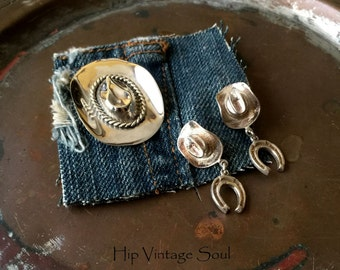 Vintage 1980's Sterling Silver Cowboy Hat Brooch and Earrings, Mexico 925 Jewelry, Cowgirl Jewelry, Country Western
