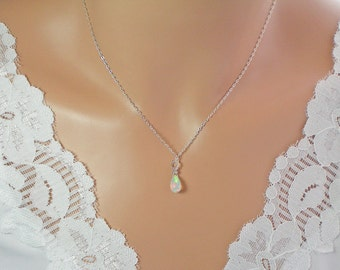 Tiny Ethiopian Fire Opal Necklace, Extreme Sparkle, all Solid Sterling Silver Necklace, Size Choice Teardrop Natural Welo Ethiopian Opal