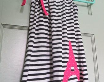 Paris Dress, Girl's Dress, Party Dress, Eiffel Tower, Striped, Black, Pink, Party dress, Dress, Paris