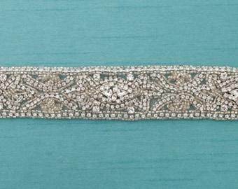Crystal Bridal Sash, Swarovski Bridal Sash, Rhinestone Wedding Belt, Ivory Bridal Sash, Art Deco, Gatsby,Beaded Bridal Sash