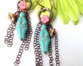 Turquoise Goddess Earrings Czech Goddess Earrings Fertility Jewelry Rebirth by Lyrisgems