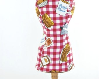 Breakfast Dress Form Mannequin Pincushions- Jewelry Holder- Pincushions-Mannequin-Red And White