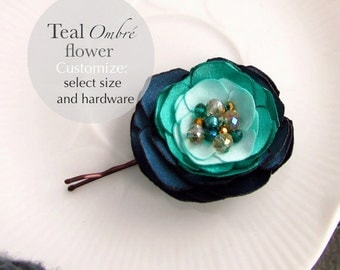 Dark Teal Blue Green Mint Bridesmaid Hair Accessories, Jade Satin Flower Hair Clip, Pearl & Gold Crystal Beaded, Sea Foam, Turquoise Hair