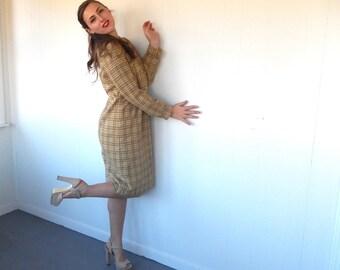 Vintage 60s Pendleton Dress - Plaid Wool Button-Up Shift Yellow & Brown LG