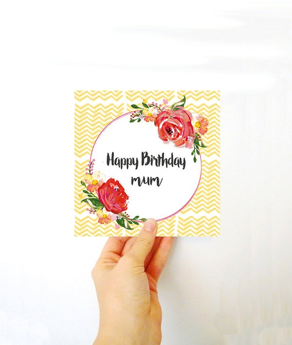 Happy Birthday card for mum - Pretty birthday card for mums - Floral pattern