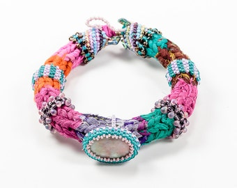 Fiber Bangles, Stone Bangles, Woven Beaded Bangles, Bohemian Bangles, Bracelets for Women, Colorful Textile, Woven Tribal Jewelry