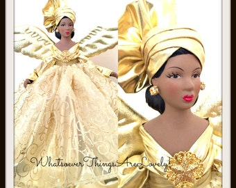 "Christmas Angel Tree Topper, ""Liquid Gold"" ,African American Holiday Treetop, Black Angel for the Tree"