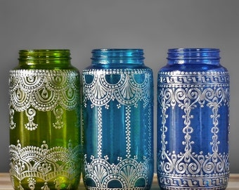 Bohemian Decor Mason Jar Vase or Boho Lantern, Silver Accented Eclectic Home Decor, Choose One in Peridot, Teal, or Blueberry
