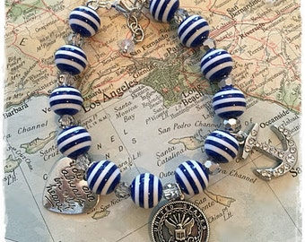 US Navy always in my heart  beaded charm bracelet by Son and Sea free US shipping