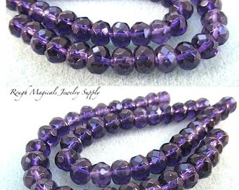 25 Plum Purple Rondelle Beads. 8mm x 6mm Faceted Glass Crystals. Deep Purple Glass Spacer Beads. Royal Purple Separator Beads - 25 Pieces