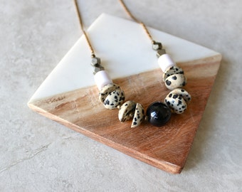 Onyx + Jasper Necklace, Stone Statement Necklace