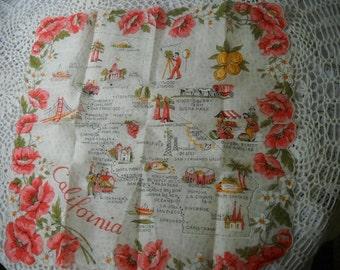 Vintage California Hankie, Unused Cotton California Handkerchief, Golden State Hanky, State Souvenir, Hankie Collector, 1960's Hankie