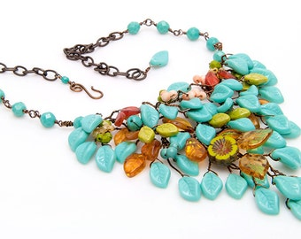 Yellow Green Turquoise Bib Necklace, Turquoise Statement Necklace, Nature Jewelry, Blue Leaf Necklace, Turquoise Boho Jewelry CPJ N532