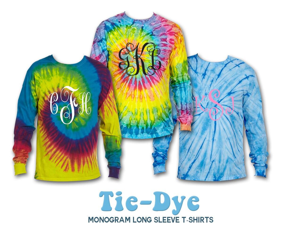 New tye dye long sleeve t shirt tie dye long by knkmonograms for Custom t shirts tie dye