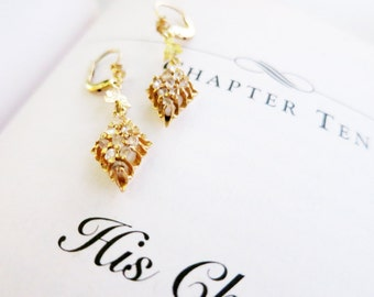 Antique 8K Gold Lightweight Drop Earrings with Rough Cut Diamante Real Diamonds with Leverback Locks from the Philippines