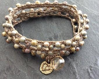 Rustic crochet bracelet necklace - neutral olive/blue crochet jewelry, boho yoga surfer jewellery, gift for her by Mollymoojewels