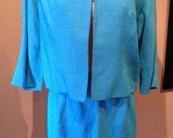 Vintage 1950s Bright Aqua Rayon Suit - M