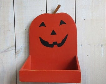 Jack-o-lantern Hanging Box, Halloween Candy Dish, Hanging Wall Box, Halloween Decor, Pumpkin Tray, Holiday Centerpiece