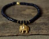 Elephant Bracelet, Blue Stone Bracelet, Charm Bracelet, Stretchy Bracelet, Beaded Bracelet, Gemstone Bracelet, Layering Bracelet, Bohemian