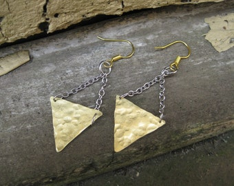 Hammered Brass Triangle Dangle Earrings