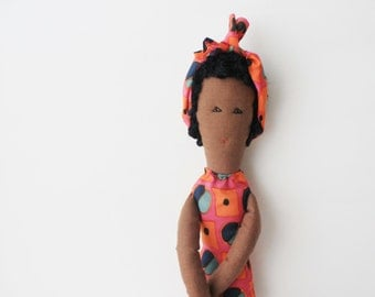African cloth doll Fulana, retro bathing soft sculpture, colourful ooak stuffed doll, decor kids toy gift, Featured in STUFFED magazine