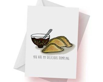 Anniversary Card- Love Card- Valentine- I Love You Like a Dumpling