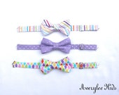 Easter Bow Ties for Boys, Lavender Boys Bow Tie, Easter Striped Bow Tie, Toddler Bow Tie, Easter Outfit